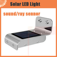 2pcs/lot Ray and Sound  Sensor Solar camping Light Outdoor 16 LED Wall Lamp  For Garden Yard Street