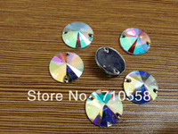 Crystal Clear AB Color( 8mm 10mm 12mm 14mm 16mm 18mm) Round Flat Back Sew On Resin stones Resin Rhinestones with hole
