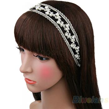 Min. 1pc Fashion Women Lace Pearl Beads Headhand Hairband Hair Head Band Headwear Accessories