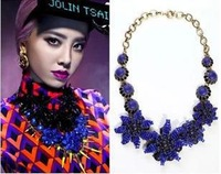 Free Shipping !mix orders $10 Trend fashion blue beads choker statement necklace for women jewelry