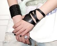 Gloves jazz dance hip-hop semi-finger leather cross straps gloves, 10pcs free shipping