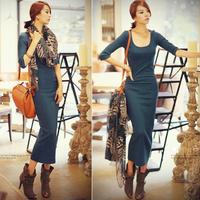2013 three quarter sleeve long design knitted one-piece dress sexy slim hip tight fitting basic full dress