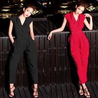 Fashion star style cross V-neck slim waist double pocket jumpsuit autumn elegant jumpsuit