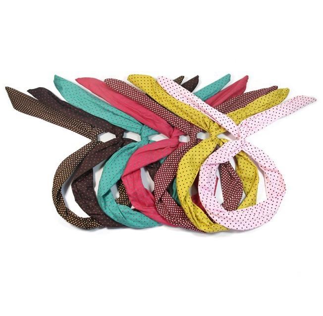 24pcs/lot Fashion Korea Rabbit Bunny Ear DIY Wire Headband Scarf Hair Band Bow Head Wrap Polkadot FREE SHIPPING(China (Mainland))