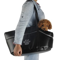 New Pet Carrier Dog Cat  PU Leather Black Dog Puppy Cat Dog Carrier for Small Large  Dogs Trip Soft Carrier Bag Free Shipping