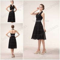 2014 Babyonline New arrilva black chiffon halter shkort knee length bridesmaid dress wedding party dress Cheap