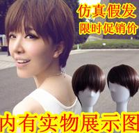 Wire short hair wig    mushroom head linen short straight hair