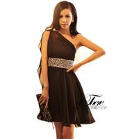 2013 single oblique fashion elegant beading princess one-piece dress black Evening Dresses for women Ladies party dress S-L
