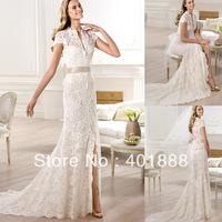 Cap Sleeve Lace Applique Long Slim Fit Long Trail Brazilian Wedding Dresses