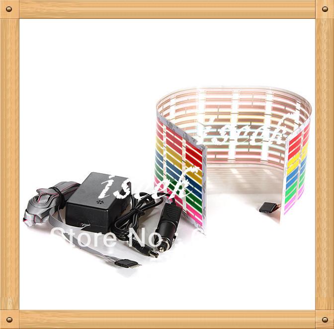 12V Colourful Flash Car Sticker Music Rhythm LED EL Sheet Light Lamp Sound Music Activated Equalizer car Stickers 5 SIZE(China (Mainland))