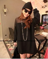 Free shipping High quality 2013 fashion summer and autumn  loose medium-long t-shirt Perspective batwing long sleeve shirt women