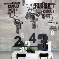 World Map Wall Sticker for Learning Study Black Wall Decor Art words sayings Vinyl Materials 116 * 190CM