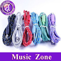 Free shipping hot sale colorful Fabric Nylon 2m Braided USB Cable for iphone 5 5s