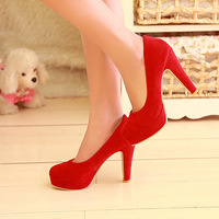 Stillettos Zapatos 2013 spring and autumn high-heeled shoes fashion sexy scrub red thick heel single shoes female wedding shoes