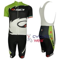 2014 SIDI black and green Short sleeve cycling jersey and BIB short, Customized,All size In stock / Bicycle clothing