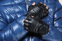 Half Finger Gloves Men sports semi-finger faux leather lucy refers to gloves hip-hop winter black motorcycle Parkour Sport