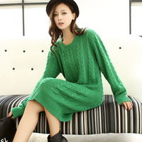 2013 women's sweater female medium-long loose knitted twisted basic pullover outerwear