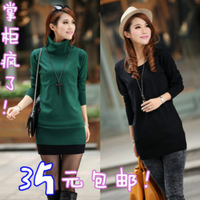 2013 mercerized cotton o-neck long-sleeve medium-long basic shirt low o-neck knitted sweater