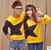 2013 casual o-neck lovers basic shirt t-shirt wadded jacket lovers design long-sleeve sweatshirt  , free shipping