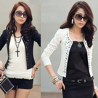 2013 women's rivet plus size cardigan coat slim o-neck long-sleeve short jacket female