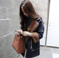 Cii Hitz Korea Partysu denim stitching loose woolen coat long section woolen jacket