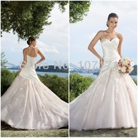 Princess A-line Ruched Satin Applique Tulle Corset Back Wedding Dress 2014