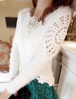 Free Shipping 2013 Autumn Beautiful Soft Mohair Crochet Short Paragraph Sweater Women Bottoming Crochet Tops