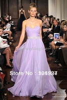 Free Shipping Sweetheart Lavender Chiffon Ruffles Beaded Waistband Elie Saab Floor Length Evening Dresses BO0392