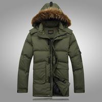 Free Shipping 2013  plus size down coat male long design down coat lengthen thickening down coat male coat