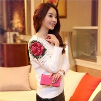 Free Shipping Loose Plus Size Sweater Pullover Long-sleeve Women Hollow Embroidered Sweater Rose Shoulder Sweater Outerwear