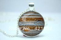 10pcs/lot Jupiter Necklace, Planet Pendant, Universe Galaxy Science Jewelry Glass Cabochon Necklace