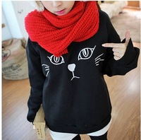 2013 Free Shipping O-Neck Pullover Hoodie Women pullover  lovel Cat Printed Long Sweater shirt colors black