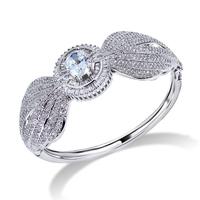 CZ Cubic Zirconia Micro Setting Bangle Flower Platinum Crystal Clear Brass Luxury New High Quality Trending Wedding - VC Mart