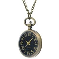 Noble Men Women Watch Black Dial Bronze Case Unisex Pocket Watch Long Golden Chain Open-face Pendant Necklace Quartz Watch