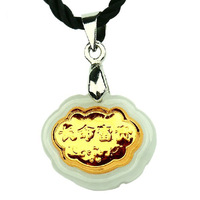Free shipping natural jade 24 k gold bless peace of children lock necklace pendant