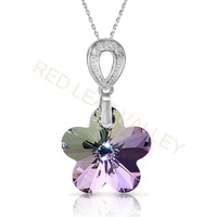 High Quality Austrian Purple Light Flower Crystal 925 Silver Pendant Free Shipping Hot Sell Christmas Gift Promotion