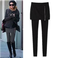 2013 autumn basic faux two piece female plus size fashion trousers tight legging plus velvet dress