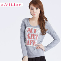 Ayilian 2013 autumn women's basic lace applique embroidery T-shirt 23551 long-sleeve sweater
