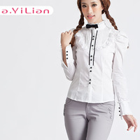 Ayilian 2013 autumn princess wind sweet slim ruffle shirt female top 23205