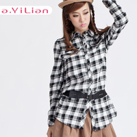 Ayilian 2013 autumn handsome personality slim waist square grid , dsmv 23199 casual shirt