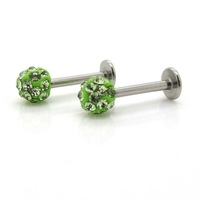 New 316L Stainless Steel Piercing Jewelry,Labret & Lip Bar Ring Piercing Jewelry with 4mm Green Shamballa Crystal Beads
