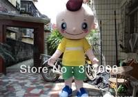 2013 hot sale shaven head  boy character Costume Mascot Costume boy cartoon costume Free Shipping