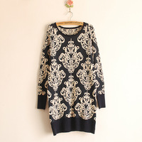 2013  blue and white porcelain flock printing pattern medium-long  vintage geometric  Gothic pullover sweater
