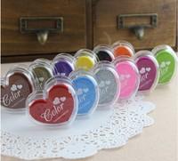 GS005 12Colors Mini Heart Shape Ink pad/Colorful Cartoon Ink pad/Ink stamp pad/Inkpad set for DIY funny work/Scrapbooking/Album