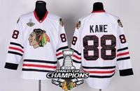 2013 Stanley Cup Champions Patch Chicago Blackhawks #88 Patrick Ice Hockey Jersey White Embroidery logos