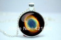 10pcs/lot Ring Nebula Necklace, Galaxy Jewelry, Universe Pendant  Glass Cabochon Necklace