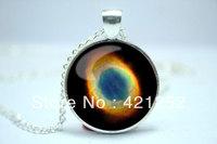 10pcs/lot Ring Nebula Necklace, Galaxy Jewelry, Universe Pendant  Glass Cabochon Necklace