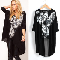 Hot Sale 2014 New Summer Lady's Fashion avant garde Skull dovetail rock t-shirts women's blouses Tees Streetwear Hip Hop Shirt