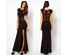 Women's Fashion Sophisticated Lace & Knitting Patchwork Solid Black Slim Slit Open Long Sexy Evening Party Maxi Dresses C44