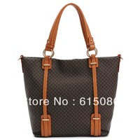 2013 Fashion Genuine Leather plaid Bag Women's Cowhide designer brand one shoulder totes bags Gift M463